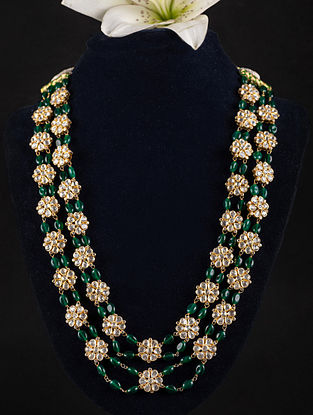 Green Onyx Beaded Gold Plated Silver Kundan Necklace