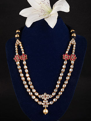 Ruby Gold Plated Kundan Silver Necklace with Pearl