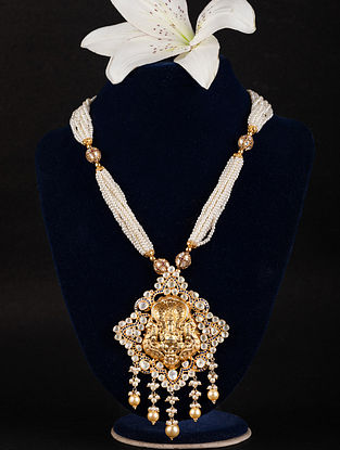 Gold Plated Kundan Silver Pearl Beaded Necklace