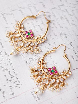 Maroon Green Gold Plated Kundan Silver Earrings