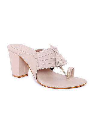 Nude Handcrafted Kolhapuri Block Heels with Tassels