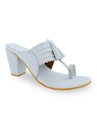 Grey Handcrafted Kolhapuri Block Heels with Tassels