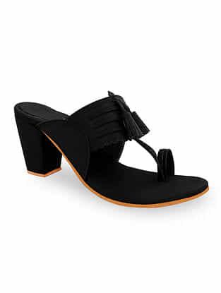 Black Handcrafted Kolhapuri Block Heels with Tassels