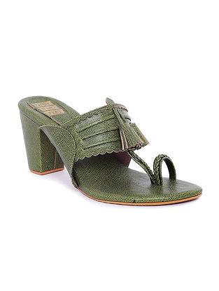 Green Handcrafted Kolhapuri Block Heels with Tassels