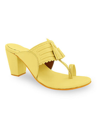 Yellow Handcrafted Kolhapuri Block Heels with Tassels