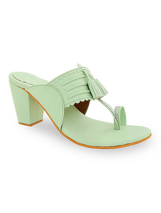 Mint Green Handcrafted Kolhapuri Block Heels with Tassels