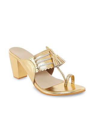 Gold Handcrafted Kolhapuri Block Heels with Tassels