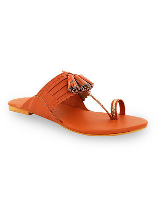 Tan Handcrafted Kolhapuri Flats with Tassels