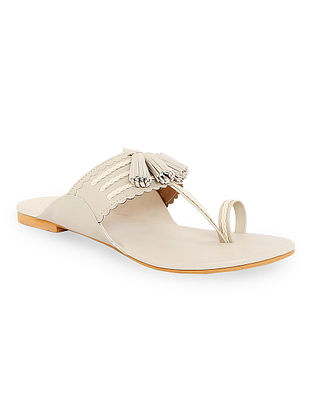 Nude Handcrafted Kolhapuri Flats with Tassels