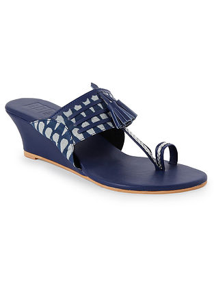 Blue Handcrafted Faux leather Kohlapuri Wedges