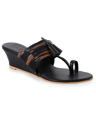 Black Handcrafted Faux leather Kohlapuri Wedges