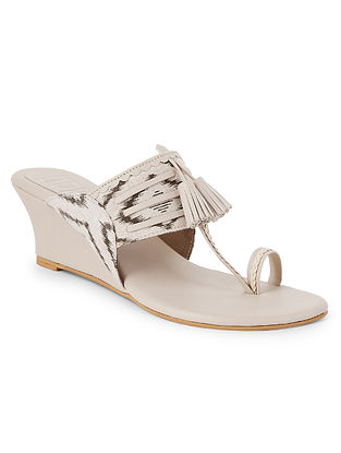 Cream Handcrafted Faux leather Kohlapuri Wedges