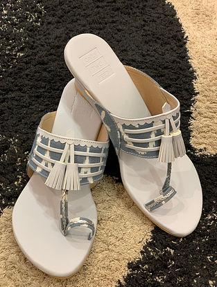 Grey Handcrafted Faux leather Kohlapuri Wedges