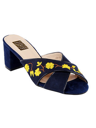 Midnight Blue Handcrafted Faux Leather Block Heels