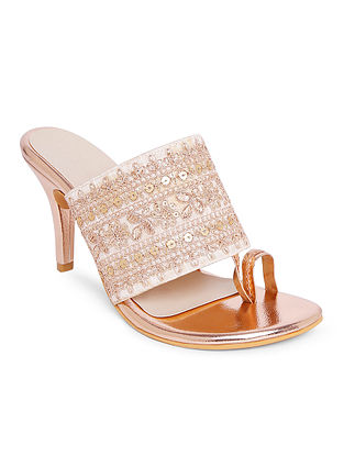 White Gold Handcrafted Faux Leather Heels