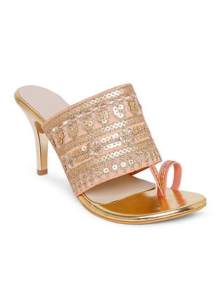 Peach Gold Handcrafted Faux Leather Heels