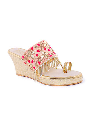 Pink Gold Handcrafted Faux Leather Wedges