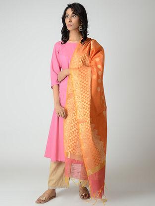 Orange-Pink Benarasi Silk Dupatta