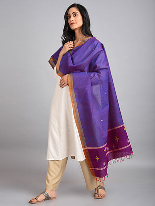 Royal Blue Handwoven Cotton-Eri Silk Dupatta