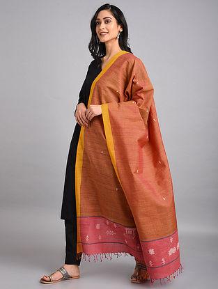 Orange-Pink Handwoven Cotton-Eri Silk Dupatta