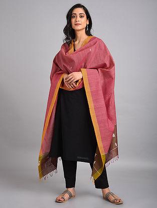 Pink-Yellow Handwoven Cotton-Eri Silk Dupatta