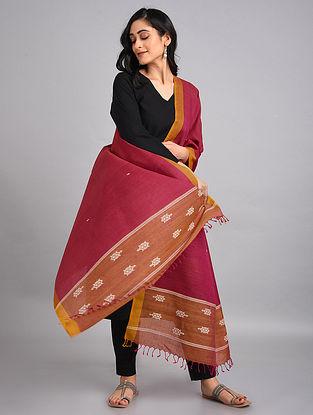 Red-Brown Handwoven Tussar Silk Dupatta