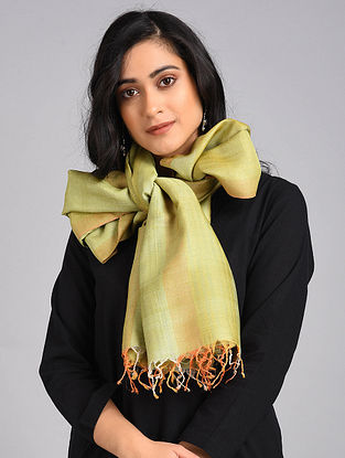 Green-Orange Handwoven Tussar Silk Stole