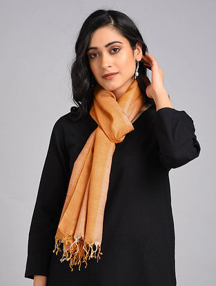 Orange Handwoven Tussar Silk Stole