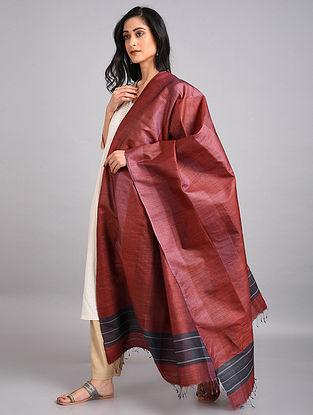 Red-Black Handwoven Tussar Silk Dupatta