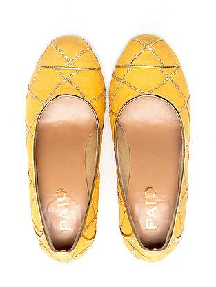 Yellow Handcrafted Block Heels