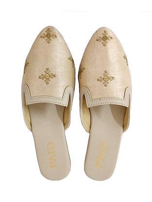 Beige-Gold Handcrafted Box Heels