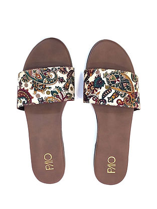 White-Multicolored Handcrafted Flats