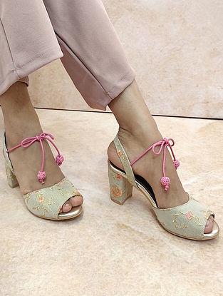 Beige-Pink Handcrafted Block Heels