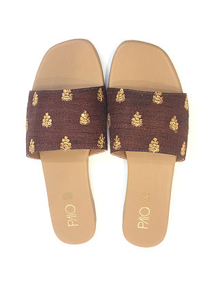 Brown-Gold Handcrafted Flats