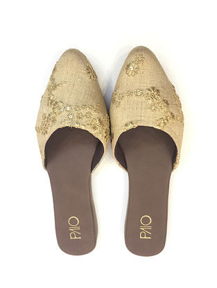 Beige-Gold Handcrafted Mules