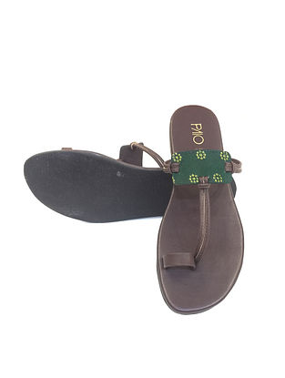 Green-Brown Handcrafted Flats
