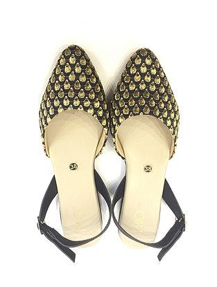 Black-Gold Handcrafted Sandals