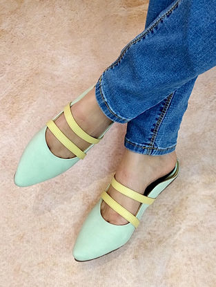 Lemon-Green Handcrafted Mules