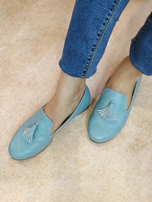 Blue Handcrafted Loafers with Tassels