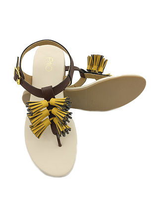 Yellow Brown Handcrafted Sandals