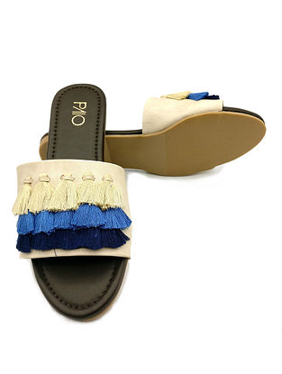 Cream Blue Handcrafted Flats with Tassels