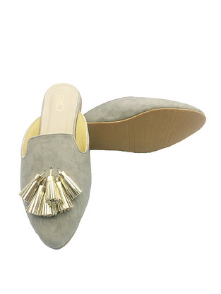 Grey Handcrafted Mules with Tassels