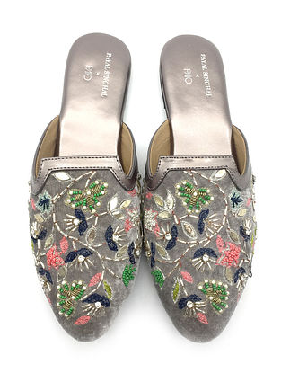 Multicolored Hand Embroidered Faux Leather Mules