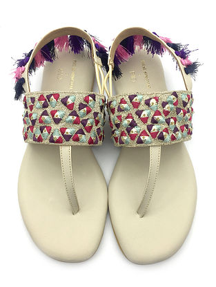 Multicolored Hand Embroidered Faux Leather Sandals