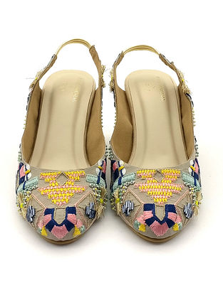 Multicolored Hand Embroidered Faux Leather Block Heels