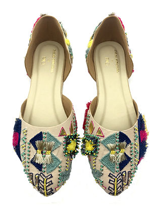 Multicolored Hand Embroidered Faux Leather Shoes