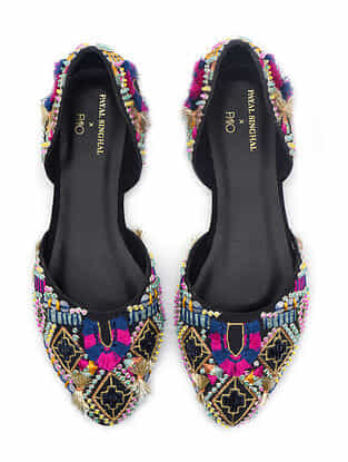 Multicolored Hand Embroidered Vegan Leather Shoes