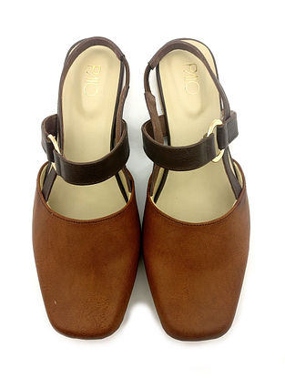 Brown Handcrafted Vegan Leather Mules