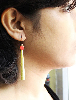 Red Gold Tone Paper Earrings