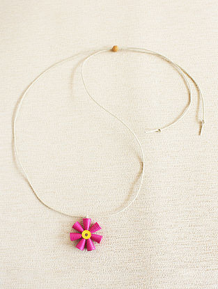 Pink-Yellow Paper Necklace